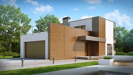 Двухэтажный коттедж в стиле модерн с огромной террасой над гаражом