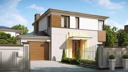 Компактный проект двухэтажного современного дома с тремя спальнями и гаражом