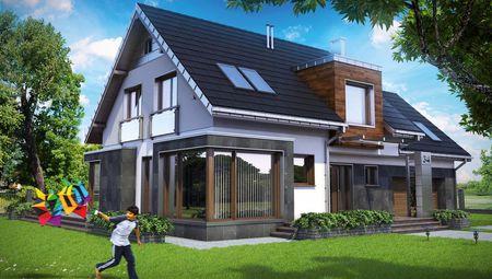 Двухэтажное строение с уникальным дизайном