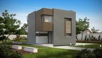 Стильный современный двухэтажный дом для маленького участка