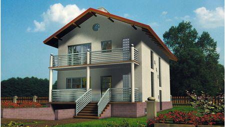Удобный загородный коттедж с большими балконами