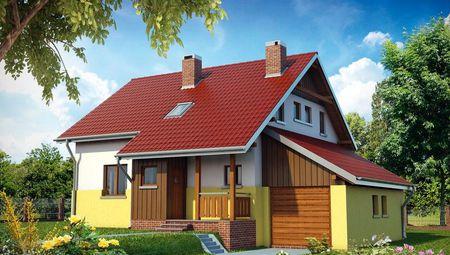 Архитектурный проект красивого коттеджа с двумя этажами и гаражом