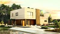 Проект хай-тек дома с террасой и гаражом для 2 авто