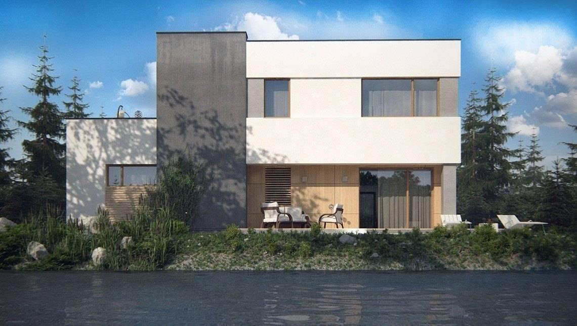 Двухэтажный дом с гаражом и террасой в стиле модерна