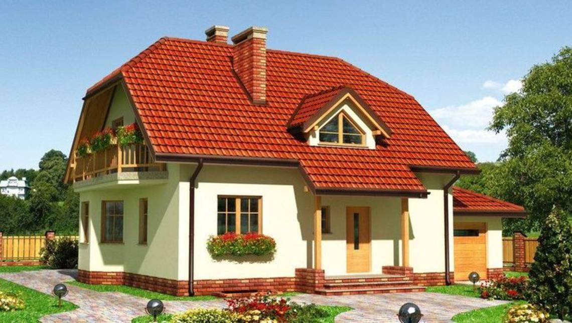 Проект стильного особняка с гаражом и балконом
