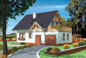 Проект красивого дома с большим балконом и мансардой