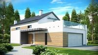 Современный дом с просторной террасой над гаражом