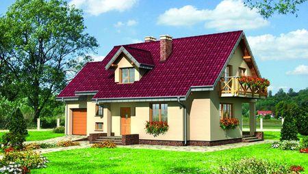 Оригинальный загородный дом с красивым балконом и террасой