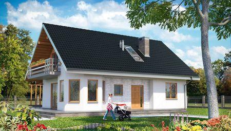Архитектурный проект оригинального дома с эркером и шестью спальнями