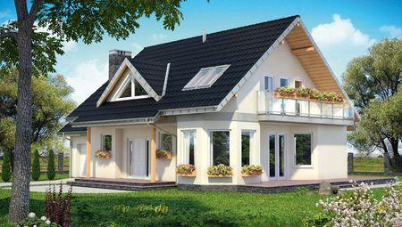 Стильный загородный коттедж с большим балконом и просторной террасой