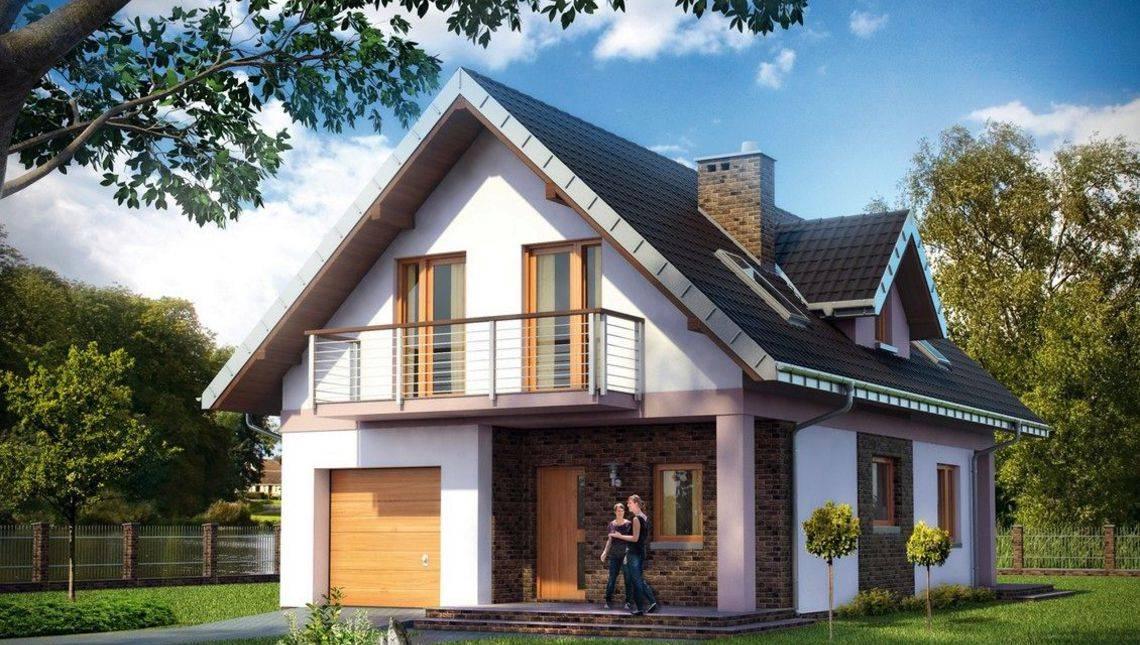 Проект симпатичного коттеджа с небольшим гаражом и светлыми комнатами