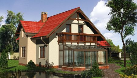 Стильный загородный дом с закрытой остекленной верандой