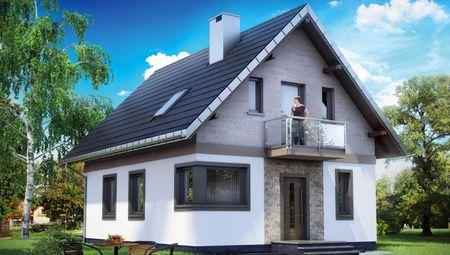 Проект просторного дома дачного типа с мансардой