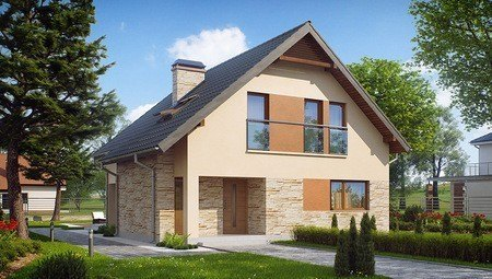Компактный мансардный дом с фасадом приятного вида