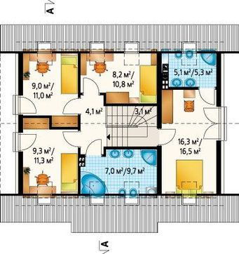Уютный двухэтажный коттедж с просторной гостиной