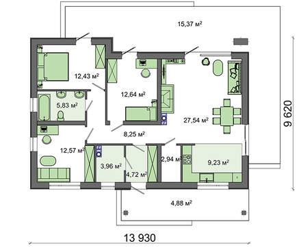 Большой одноэтажный коттедж с чердаком