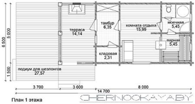 Компактное здание для загородного отдыха площадью 50 квадратов