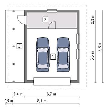 Проект капитального гаража на 2 авто с навесом