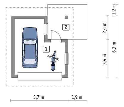Проект компактного гаража с навесом