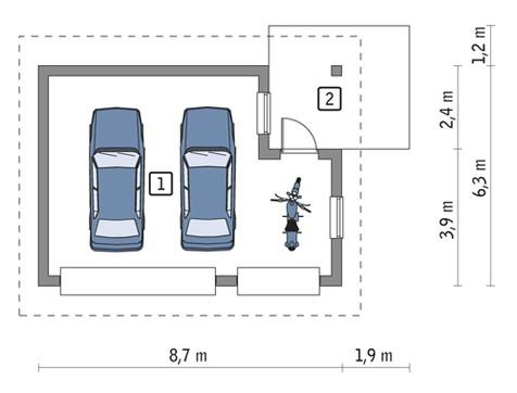 Проект компактного гаража с навесом на два авто