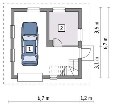 Проект гаража на 1 авто с мансардой