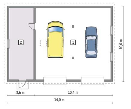 Проект гаража на 2 машины с мастерской