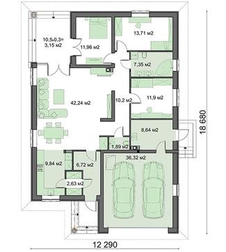 Проект изысканного строения на один этаж