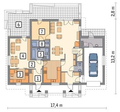 Проект дома с выделением части первого этажа для отдельного проживания
