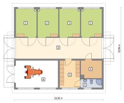 Проект конюшни с комнатой отдыха и гаражом