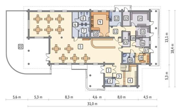 Проект стильного строения общественного питания с жилыми апартаментами