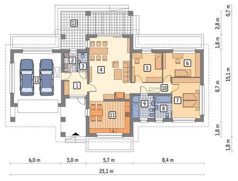 Проект одноэтажного дома с кирпичными колоннами