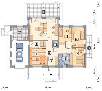 Проект жилого дома с красивыми верандами