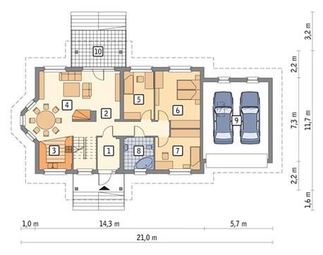 Двухэтажный привлекательный дом на 7 спален