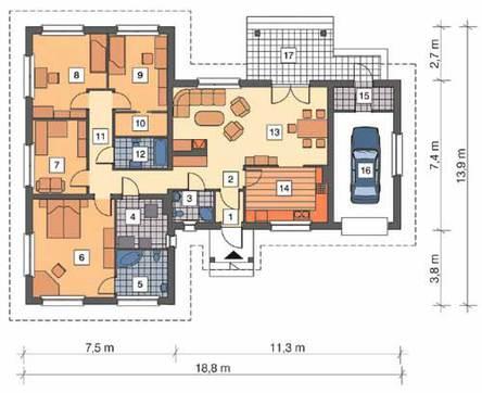 Жилой дом Т - образной формы