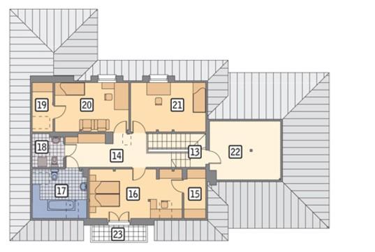 Проект солидного жилого дома с мансардой