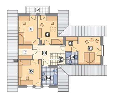 Красивый жилой дом с высокой крышей
