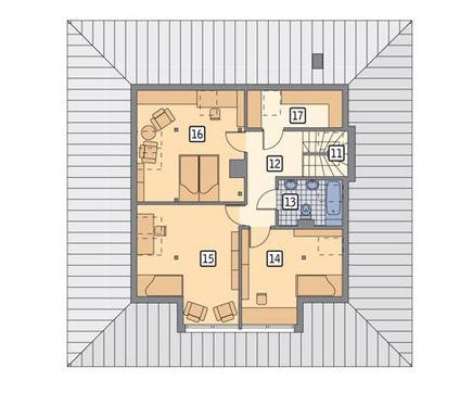 Проект жилого дома с крышей необычной формы