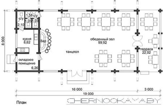 Одноэтажный коттедж для загородных торжественных встреч