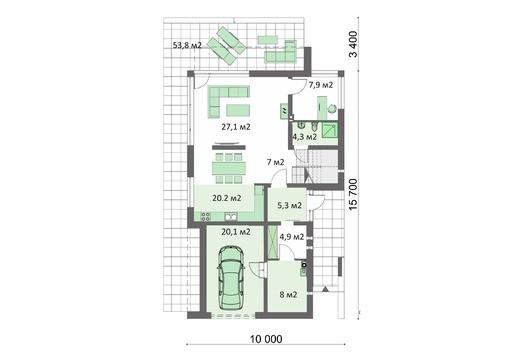 Современный жилой дом в серо-белых оттенках