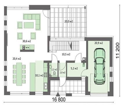 Проект презентабельного жилого дома с мансардой