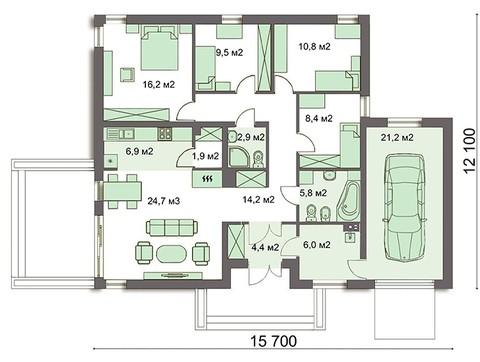 Привлекательный одноэтажный коттедж на четыре спальни