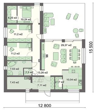 Одноэтажный жилой дом с просторной гостиной и полуоткрытой верандой