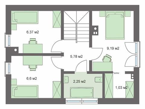 Проект привлекательного жилого дома с отдельной кухней