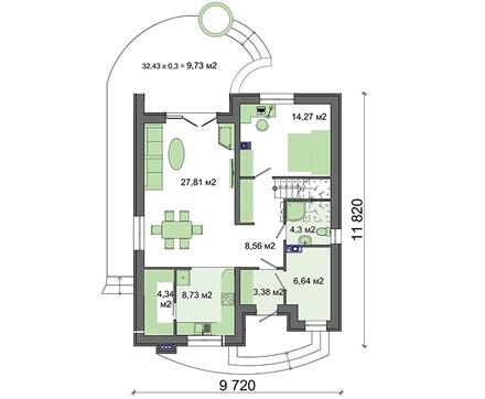 Красивый двухэтажный коттедж с полукруглыми верандами и балконами