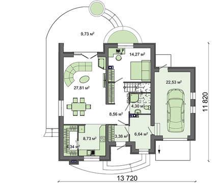 Стильный особняк с полукруглыми изящными балконами