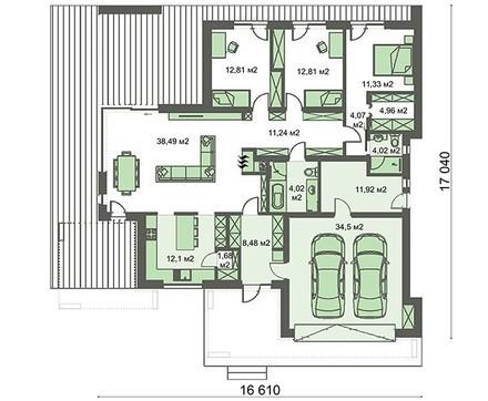 Стильный одноэтажный коттедж с гаражом
