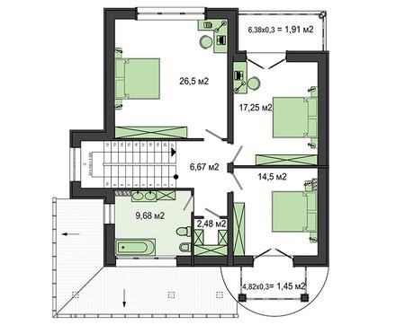 Проект особняка с огромным круглым панорамным окном в спальне