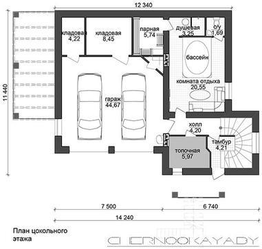 Проект уютного просторного коттеджа с гаражом