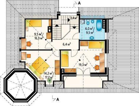 План жилого дома, выполненного в стиле замка