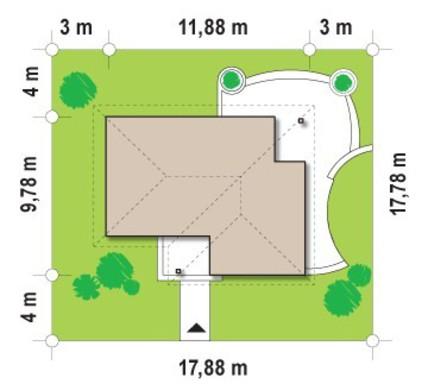 Небольшой одноэтажный коттедж с тремя спальнями